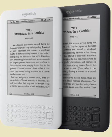 The new Amazon Kindle 3 white and graphite with ebook loaded