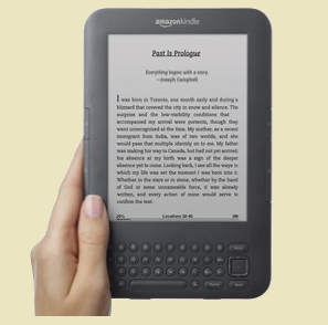 Reading an ebook on Amazon Kindle 3